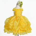 Yellow Princess GOWN STYLE DRESS GIRLS Birthday Party Pageant Dance Recital SALE