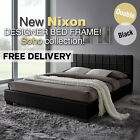 Double Queen Size Bed Frame Wooden Style Slat Base White And Black Pu Leather