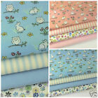 Easter Bunny & owl fat quarter fabric bundles - pink or blue 100 % cotton fabric