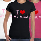 grabmybits - I Love My Mum Ladies T Shirt - Mothers Day Gift Present Heart