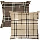Tartan Check Cushion Covers Filled Cushions 18x18 Cream Chocolate