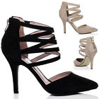 WOMENS POINTED TOE HIGH HEEL STILETTO PARTY SHOES SZ 3-8