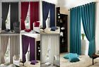 MADISON JACQUARD FAUX SILK LINED EYELET CURTAINS READY MADE CURTAIN PAIRS