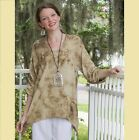 OH MY GAUZE Cotton ARTY Ruched  Sleeve Top 1(S/M) 2(L/XL) 3(1X/2X) WASHED SAND
