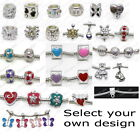 EUROPEAN CHARM BEADS OR BRACELET SELECT DESIGN CRYSTAL CZ ENAMEL SILVER PLATED