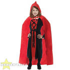 CHILDS RED VELOUR CAPE LITTLE RED RIDING HOOD FANCY DRESS COSTUME ACCESSORY