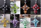 Fashion 8 Colours Bid Necklace Findings Glass Crystal Cross Pendant
