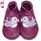 Girls Luxury Leather Soft Sole Baby Shoes - Bluebird Grape - Inch Blue