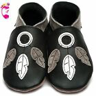 Girls Boys Luxury Leather Soft Sole Baby Shoes - Dreamcatcher Black - Inch Blue