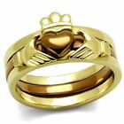 Stainless Steel Claddagh Heart  Rose Gold Tone Wedding Engagement 3 PC Ring Set