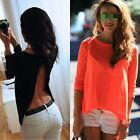 Sexy Lady Women Summer Tops Tee Long Sleeve Shirt Casual Blouse Loose T-shirt