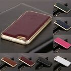 Luxury Metal Aluminum Frame Genuine Leather Case Skin For Samsung Galaxy iPhone