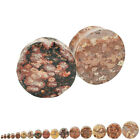 Leopard Jasper Stone Double Flared Ear Plugs Pair