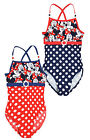 Girls Minnie Mouse Polkadot Swimming Costume New Kids Swimsuit 3 4 6 8 Years