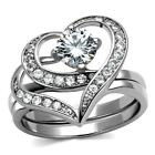 Stainless Steel Heart & Round cz Wedding Engagement Promise Ring 2 PC  Band  Set