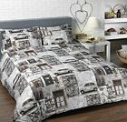 VINTAGE CARS MAPS DUVET COVER QUILT SET BROWN GREY SINGLE DOUBLE KING SUPER KING