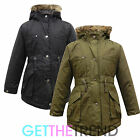Girls Hooded Padded School Jacket Coat Kids Black Fur Hood Parka Coat Jacket