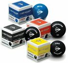 Dunlop Squash Balls Pro Double Dot Yellow, Intro Bue, Progress Red, Competition