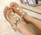 4Color Women Diamond Pearl Flat T-Strap Sandals Sexy Low Heel Party Wedding Shoe