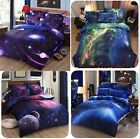 3D Galaxy Bedding Pillowcase Quilt Duvet Cover Set Or Flat Single/Double Size