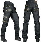 Peviani Mens combat g jeans, club, cargo black rock-star denim pants, hip hop sh