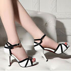 Women White And Black Open Toes Strappy  Summer High Heel Sandals