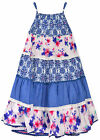 Girls Floral Sun Dress New Kids Sleeveless Blue Party Dresses Ages 3-8 Years