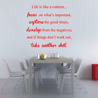 Life Is Like a Camera Family Art Wall Quotes Wall Stickers Mural Decor Decals