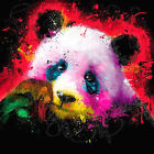 Panda Bear Cute Colourful Abstract WALL ART CANVAS FRAMED OR POSTER PRINT