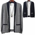 Mens V-Neck Color Shaw Knit Cardigan Sweater Button Jumper Blazer Top W043 - S/M