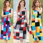 Women Boho Summer Casual Chiffon Colorful Grid Party Dress Beach Dress Sundress
