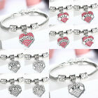 Sweet Family Xmas Gifts Love Heart Crystal Charm Pendant Silver Bangle Bracelet