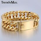 14mm Double Curb Link Gold Silver Tone  Mens Chain 316L Stainless Steel Bracelet