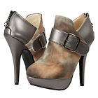 Fab Brown Fur Print Buckle Zip Platform Stiletto Ankle Boots Size 4/5/6/7/8/9/10