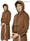 Mens Monk Costume Adult Friar Tuck Fancy Dress Religious  Robe Stag Party Outfit