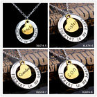 4 PCS 'Forever In My Heart' Gold Plated Moon Mom Grandma Family Pendant Necklace