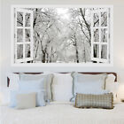 3D Window Winter Tree Snow Forest View Wall Stickers, Wall Mural, Wall Decals