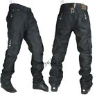 TRUE PEVIANI CARGO G JEANS,  HIP HOP URBAN  MONEY MENS STAR STONE COMBAT BLACK
