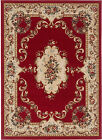 Reds Traditional Oriental Border Floral Area Rug Roses Medallion Persian Carpet