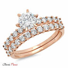 3.20 CT Sim Engagement Ring Bridal band set  Round Cut Rose Sterling Silver GP