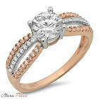 1.3CT Round Cut A+ CZ halo Engagement Ring Bridal band Multi Sterling Silver GF