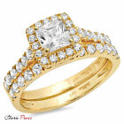 1.8 CT Princess Cut A+ CZ Promise Bridal Ring band set Yellow Sterling Silver GP