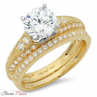 2.32 CT Round Cut A+ CZ Engagement Bridal Ring band set Multi Sterling Silver GF