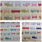 Fryett's Officially Licensed VW CAMPERVAN Cotton Fabric for Upholstery/Curtains.