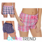 WOMENS WOVEN CHECK SHORTS LADIES NIGHTWEAR PYJAMA BOTTOMS SHORT S M L XL