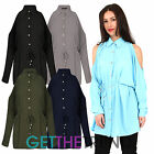 Ladies Womens Cold Shoulder Shirt Dress Womens Belted Cut Out Mini Dress Shirt
