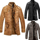 Men's Winter Slim Fit Stand Collar Polyurethane Leather Coat Outerwear Jacket