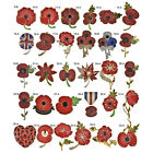 Red Remembrance Poppy Pin Brooch Banquet Crystal Badge Gold Flower Gift  TBUS