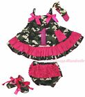 Birthday 1ST Hot Pink Camouflage Swing Top Baby Girl Bloomer Pants Shoes NB-2Y