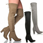 WOMENS LADIES HIGH HEEL ZIP TIE UP RIDING OVER THE KNEE THIGH BOOTS SIZE